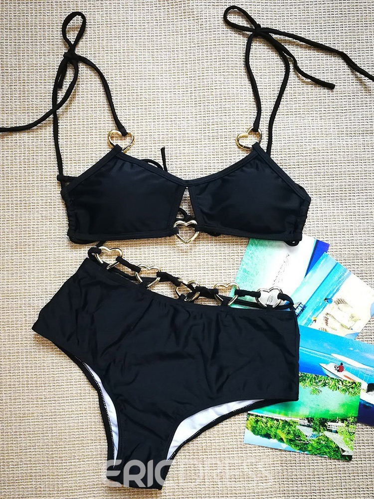 Ericdress Lace-Up Fashion Plain Swimsuit