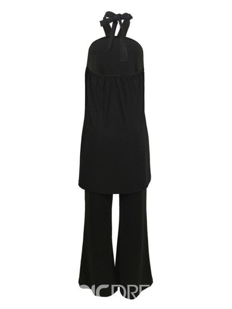 Ericdress Asymmetric Plain Halter Wide Legs Vest And Pants Two Piece Sets