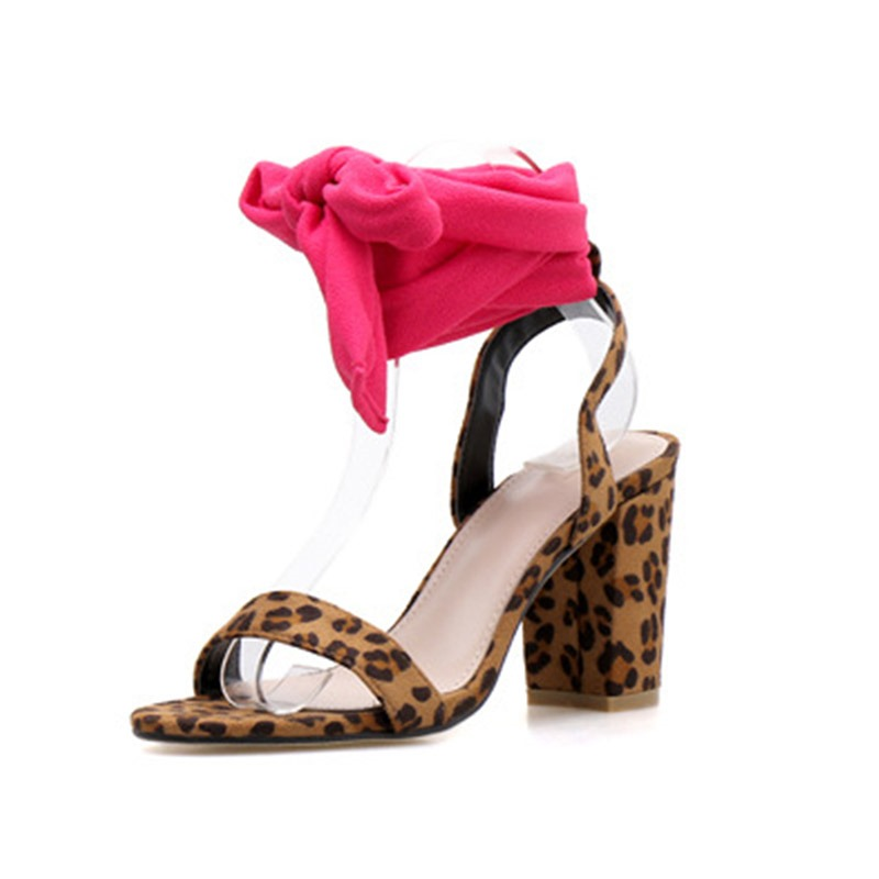 Ericdress Leopard Print Chunky Heel Open Toe Lace-Up Women's Sandals