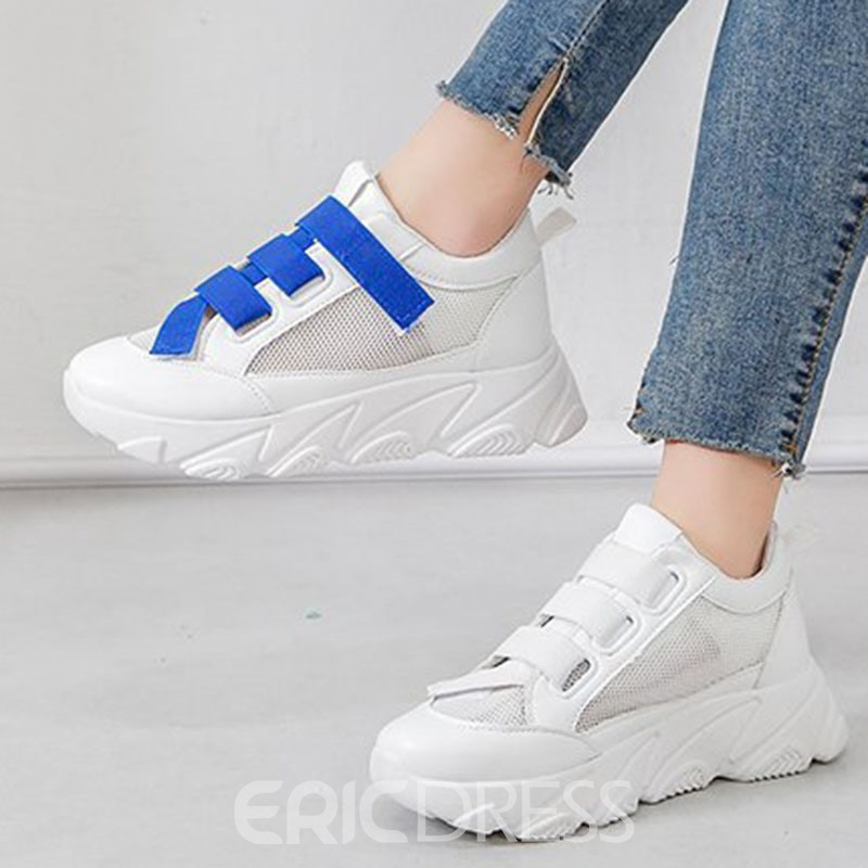 Ericdress PU Color Block Round Toe Velcro Women's Sneakers