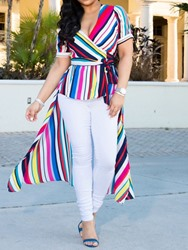 Ericdress Color Block V-Neck Asymmetric Stripe Blouse thumbnail