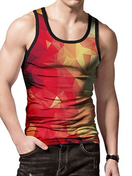 Ericdress Color Block Print Slim Casual Mens Wrapped Vest
