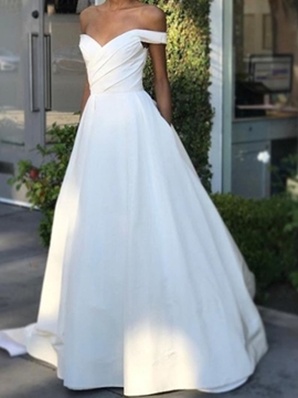 Ericdress Short Sleeves Off-The-Shoulder A-Line Pick-Ups Church Wedding Dress 2020