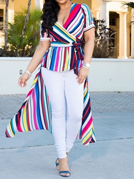 Ericdress Color Block V-Neck Asymmetric Stripe Blouse