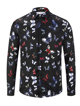 Ericdress Print Color Block Lapel Single-Breasted Mens Spring Shirt