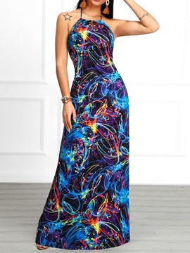Ericdress Floor-Length Print Sleeveless Pullover Backless Dress