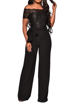 Ericdress Embroidery Off Shoulder Plain Lace Slim Jumpsuit