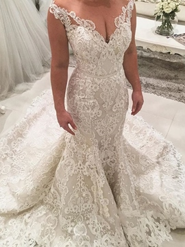 Ericdress Beading Lace Appliques Mermaid Wedding Dress 2019