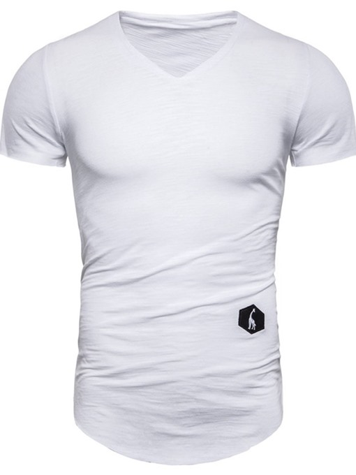 Ericdress V-Neck Casual Plain Slim Mens Short Sleeve T-shirt