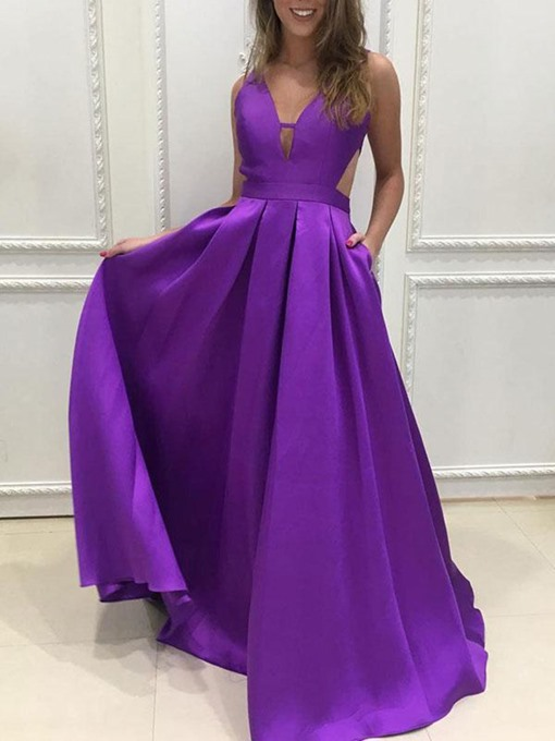 Ericdress A-Line V-Neck Hollow Long Bridesmaid Dress 2019