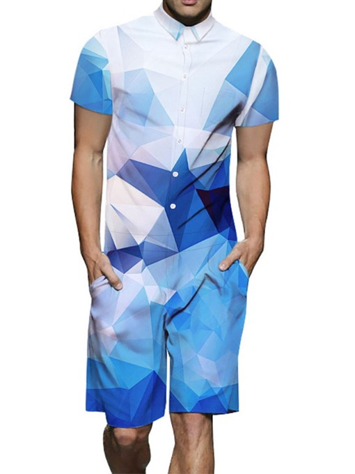Ericdress Shirt Color Block Print Summer Mens Outfit