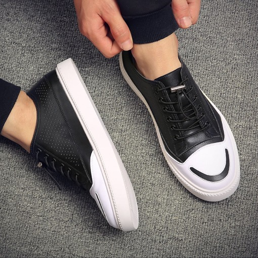 Ericdress PU Lace-Up Round Toe Color Block Men's Skate Shoes