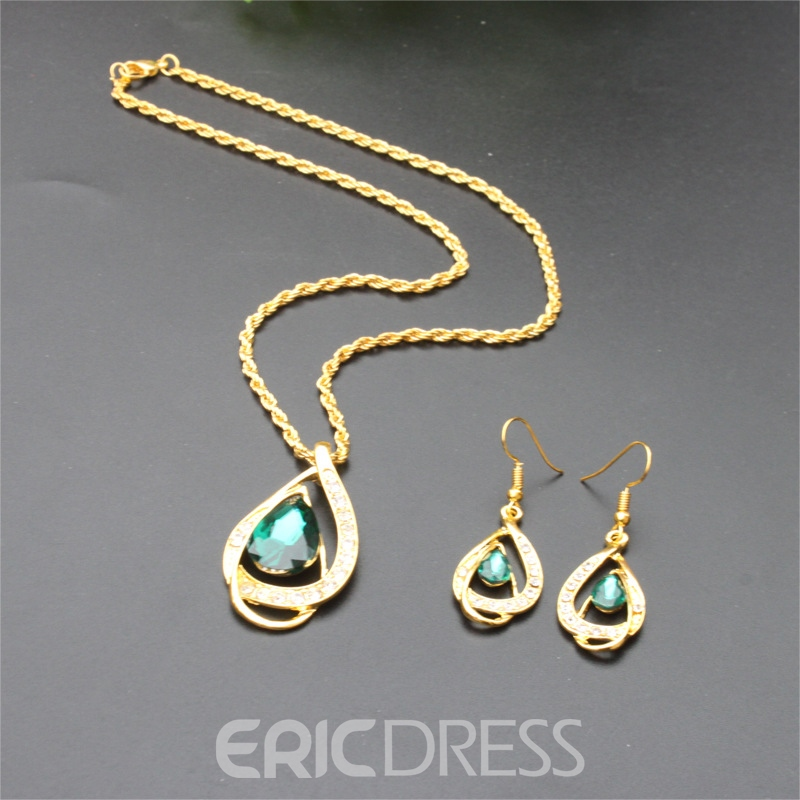 E-Plating Water Drop Necklace Jewelry Sets (Wedding)