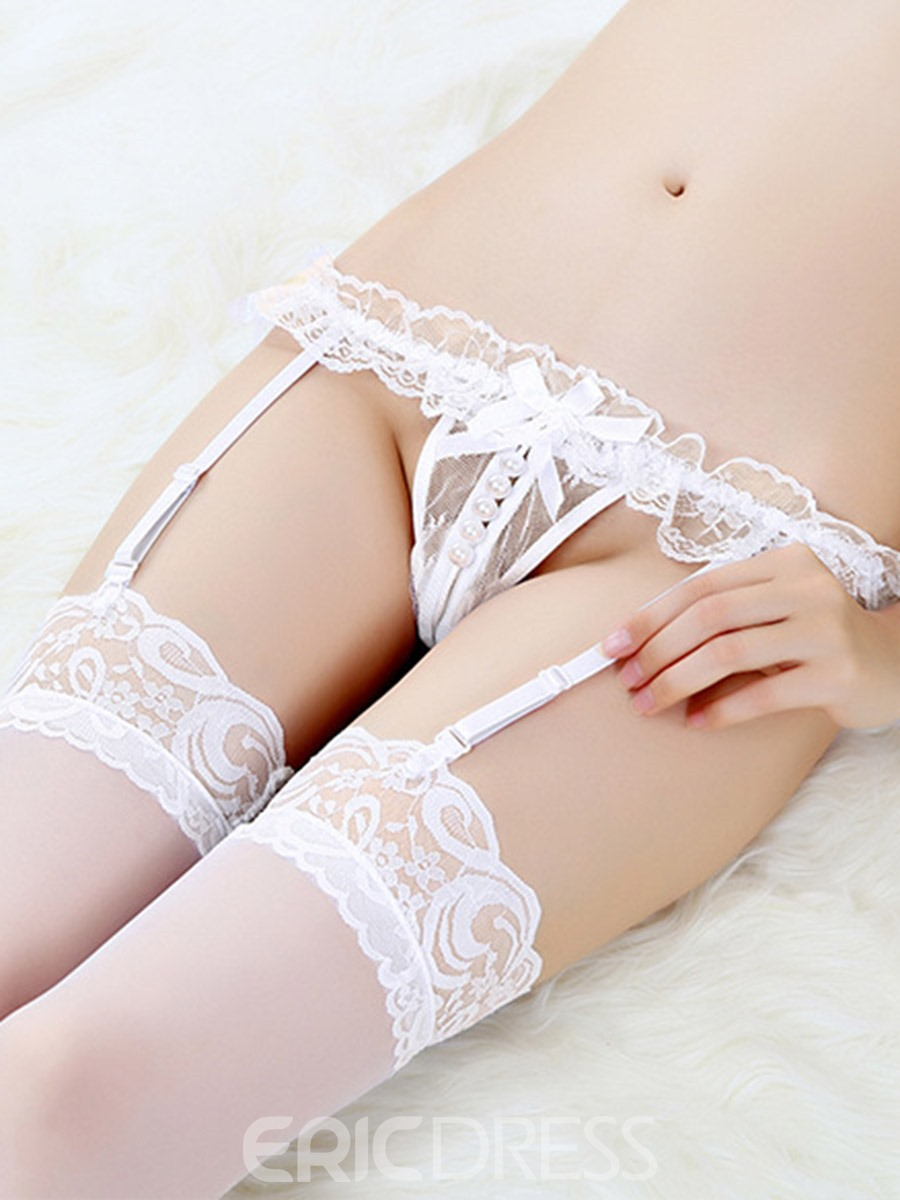 Ericdress Pleated Lace Garter Belts with Clips for Women's Stockings