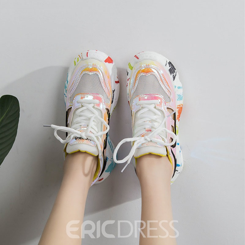 Ericdress Round Toe Lace-Up Color Block Women's Sneakers
