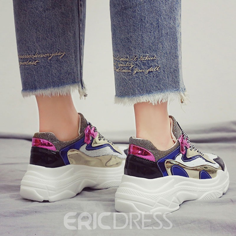 Ericdress PU Color Block Round Toe Women's Chic Sneakers