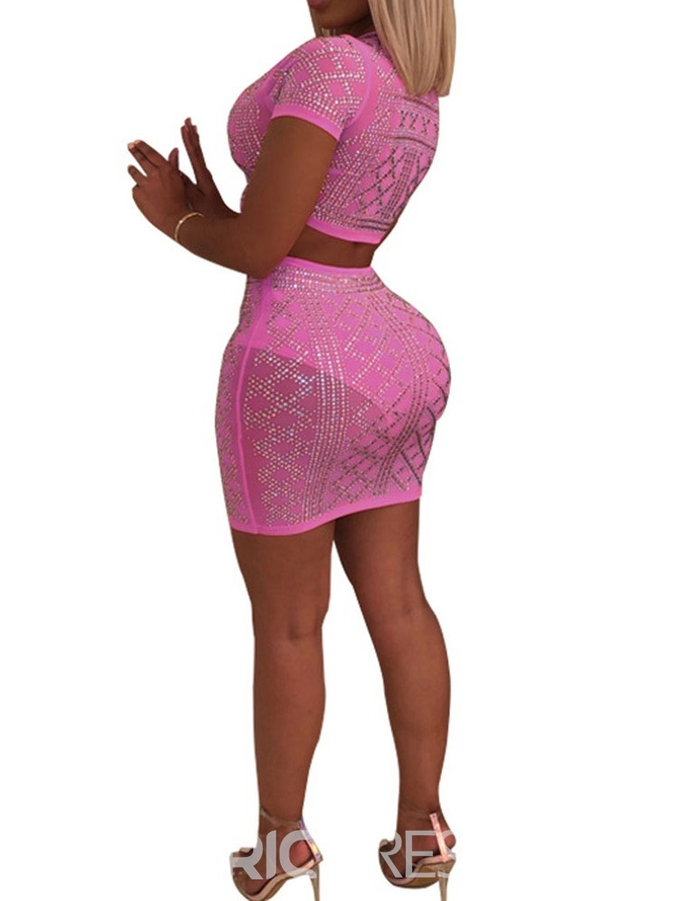 Ericdress Diamond Geometric Sexy Prom Suits T-Shirt And Skirt Two Piece Sets