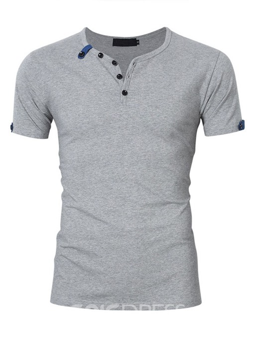 Ericdress Button V-Neck Casual Mens Slim Short Sleeve T-shirt
