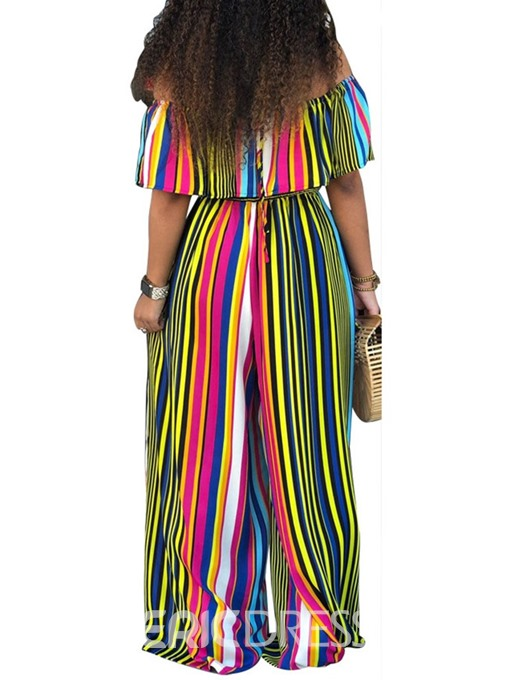 Ericdress Stripe Off Shoulder Print Loose Wide Legs Jumpsuit
