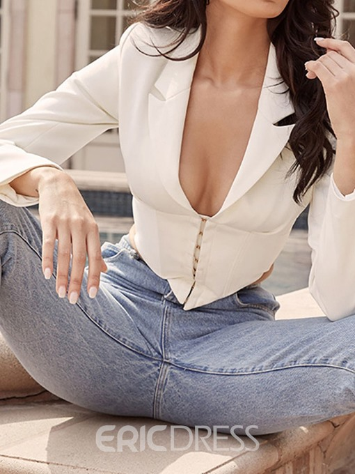 Ericdress Double-Breasted Notched Lapel Plain Short Spring Casual Blazer