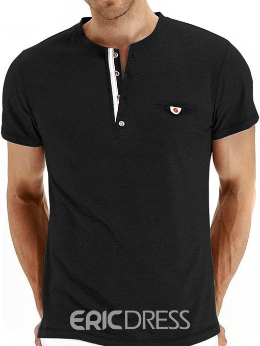 Ericdress Button Casual Round Neck Slim Mens Short Sleeve T-shirt