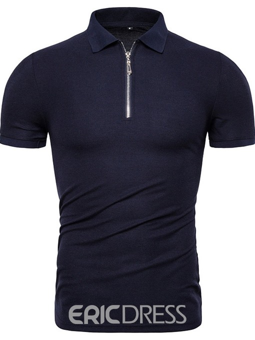 Ericdress Polo Neck Casual Plain Mens Shirt