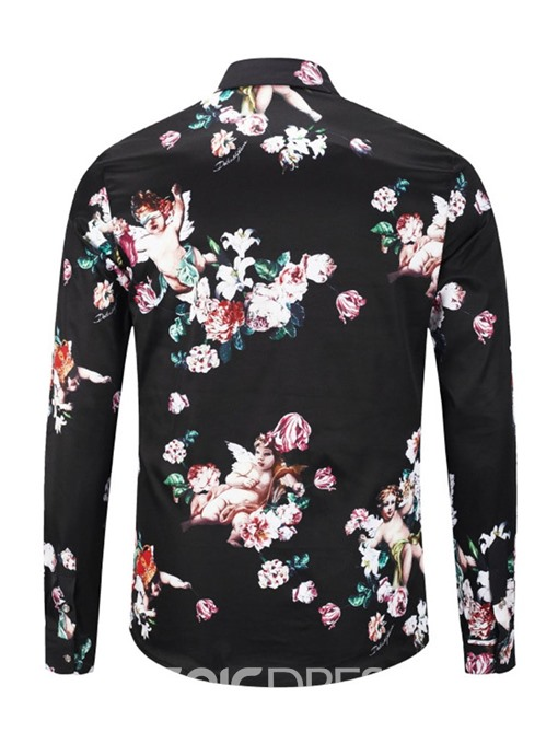 Ericdress Casual Lapel Floral Single-Breasted Mens Slim Shirt