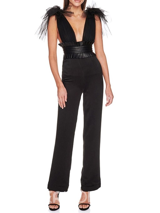 Ericdress Plain Appliques Full Length Slim High Waist Jumpsuit