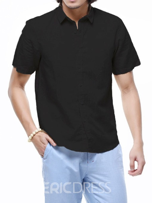 Ericdress Button Lapel Casual Loose Mens Single-Breasted Shirt
