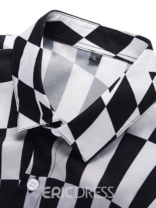 Ericdress Lapel Button Color Block Single-Breasted Mens Summer Shirt