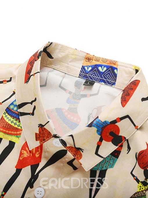 Ericdress Color Block Print Fashion Summer Single-Breasted Shirt