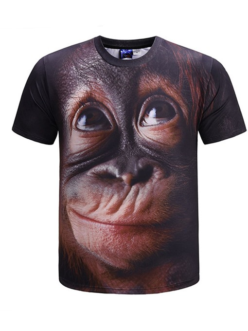Ericdress Fashion Print Animal Short Sleeve Mens Loose T-shirt