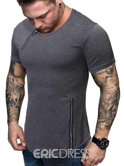 Ericdress Casual Round Neck Zipper Slim Mens Short Sleeve T-shirt