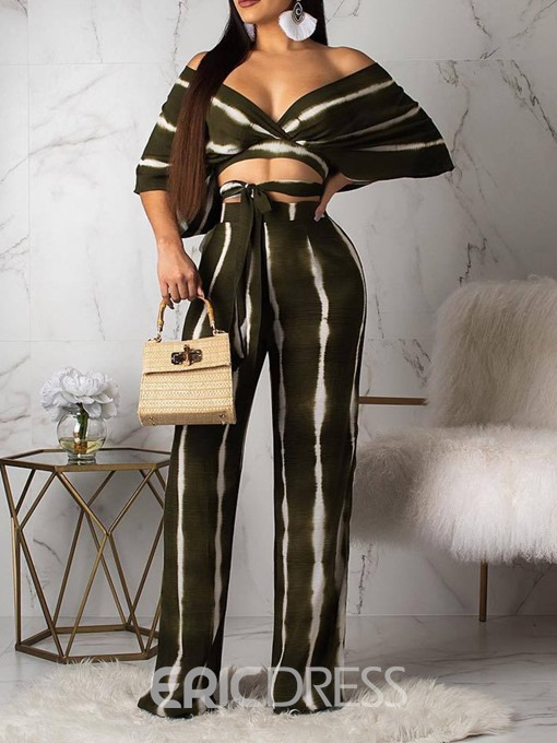 Ericdress Stripe Sexy Lace-Up Print T-Shirt And Pants Two Piece Sets