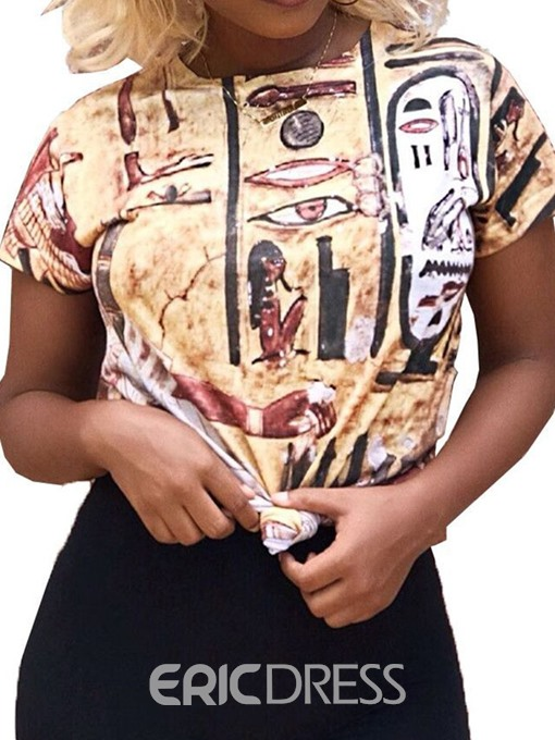 Ericdress African Fashion Color Block Short Sleeve T-Shirt