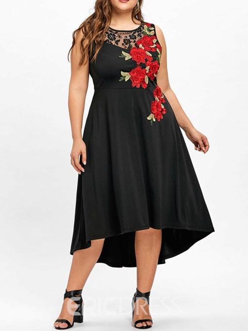 Ericdress Plus Size Sleeveless Asymmetric Mid-Calf Floral Asymmetrical Dress