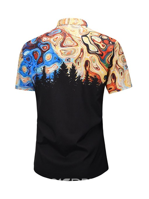 Ericdress Lapel Print Fashion Loose Mens Single-Breasted Shirt