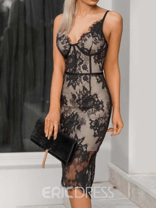 Ericdress Lace Sleeveless Knee-Length Lace Sexy Dress