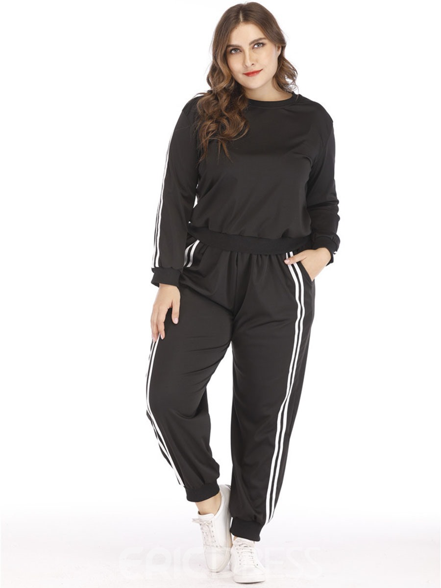 Ericdress Women Plus Size Stripe Yoga Gym Sports Sets