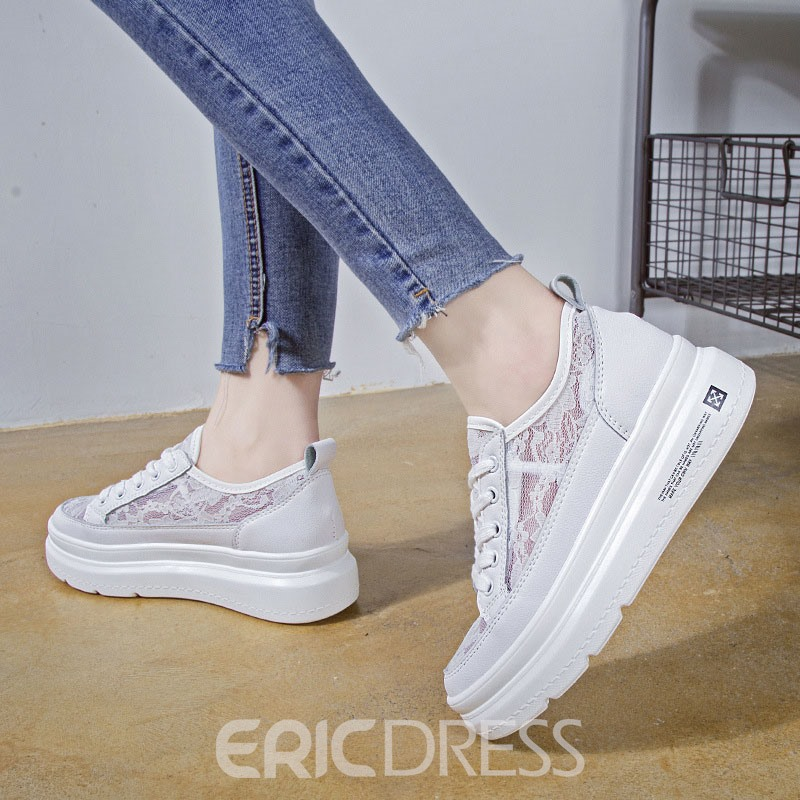 Ericdress Lace Round Toe Lace-Up Women's Sneakers
