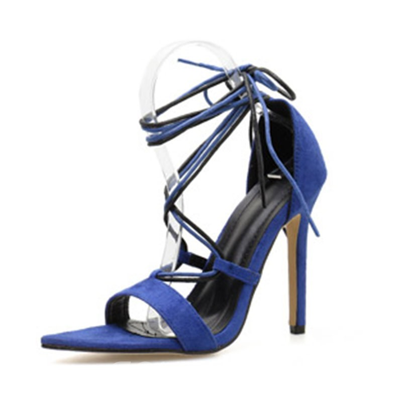 Ericdress Plain Stiletto Heel Heel Covering Lace-Up Women's Sandals