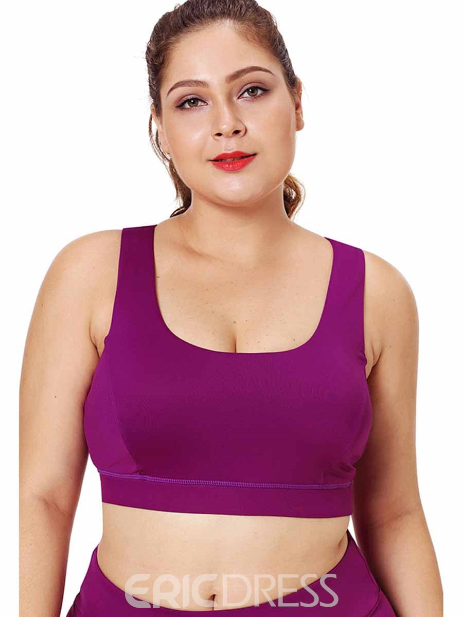 Ericdress Women Plus Size Plain Non-Adjusted Straps Free Wire Sports Bras