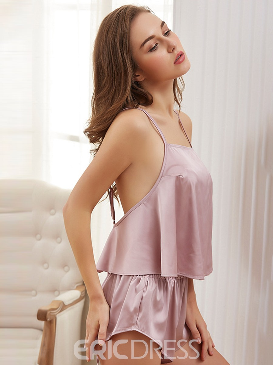 Ericdress Women Satin Pajama Backless Pleated Sexy Camisole Short Sets