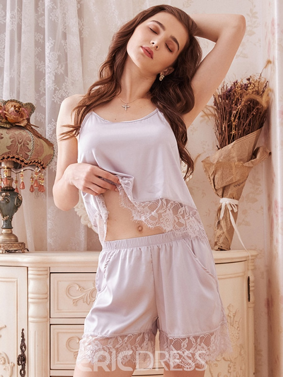 Ericdress Satin Pajama Lace Sexy Plain Pullover Sleep Camisole Short Sets