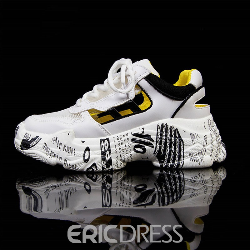 Ericdress Mesh Color Block Lace-Up Round Toe Women's Sneakers