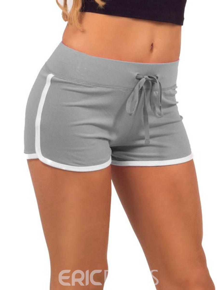 Ericdress Women Plus Size Color Block Gym Sports Shorts Pants