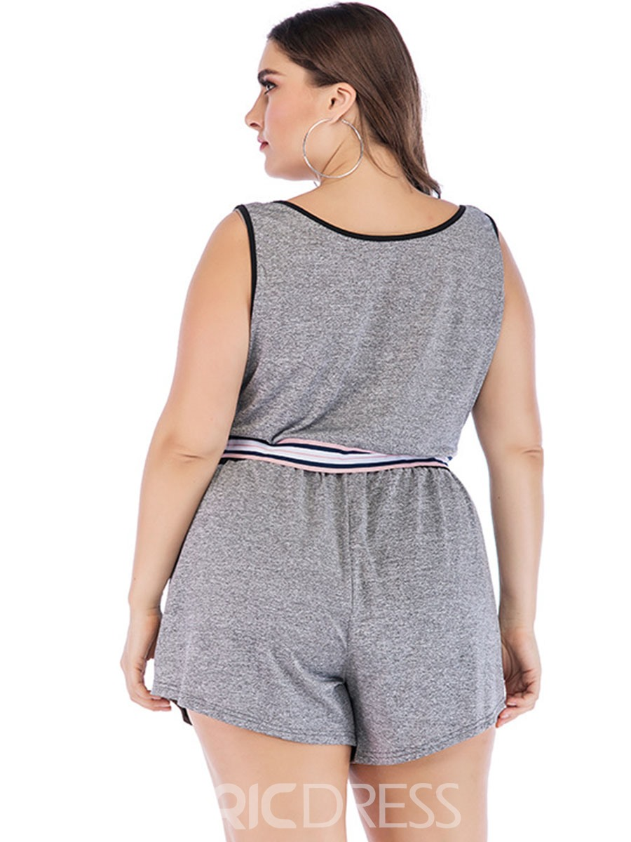 Ericdress Women Plus Size Stripe Shorts Yoga Sports Sets