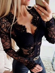 Ericdress Hollow V-Neck Lace Blouse thumbnail