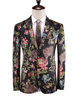 Ericdress Print Animal Single-Breasted Mens Blazer