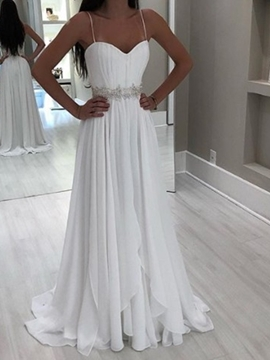 Ericdress Sleeveless A-Line Spaghetti Straps Floor-Length Beach Wedding Dress 2020